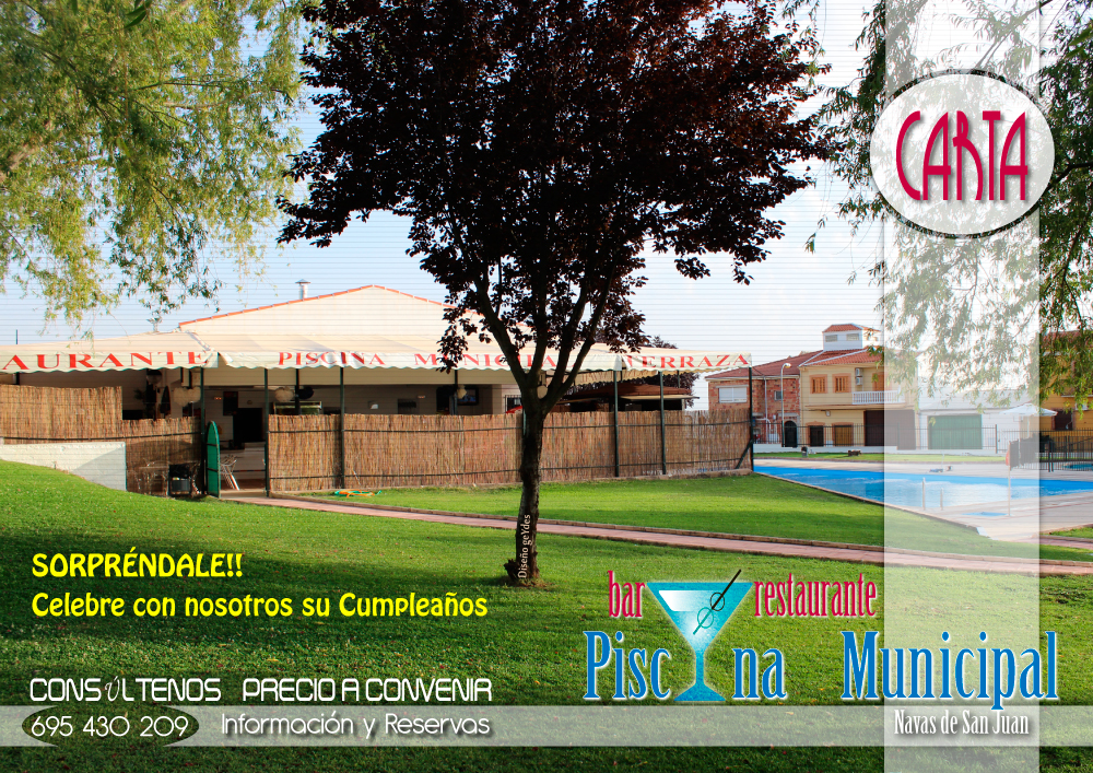 Dise o carta bar restaurante piscina municipal navas de for Piscinas de san juan
