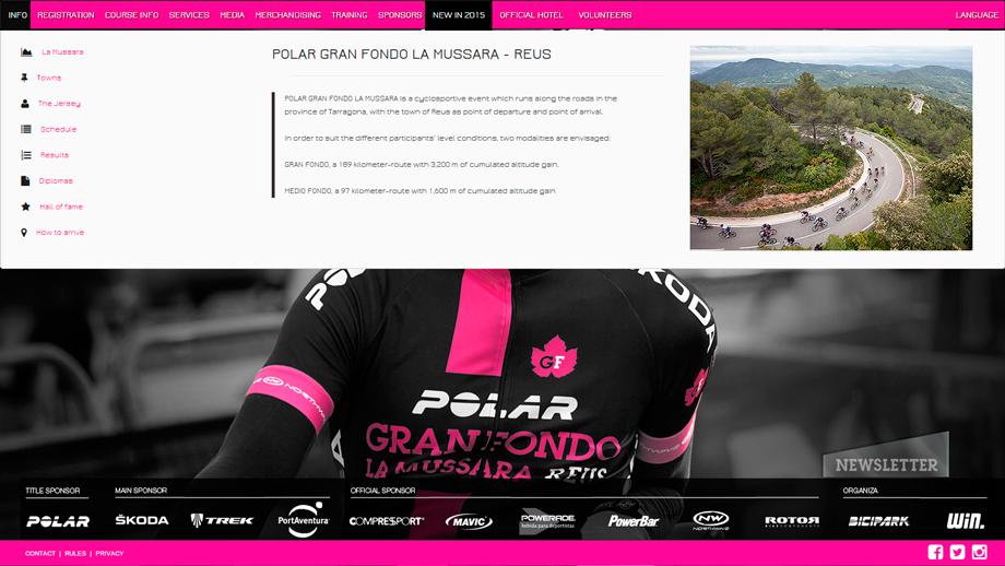 Traducción del sitio web POLAR Gran Fondo La Mussara - Reus