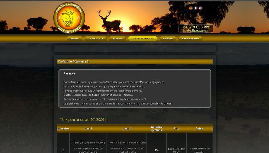 Traducción e implementación de idiomas del sitio web de Collado Caza