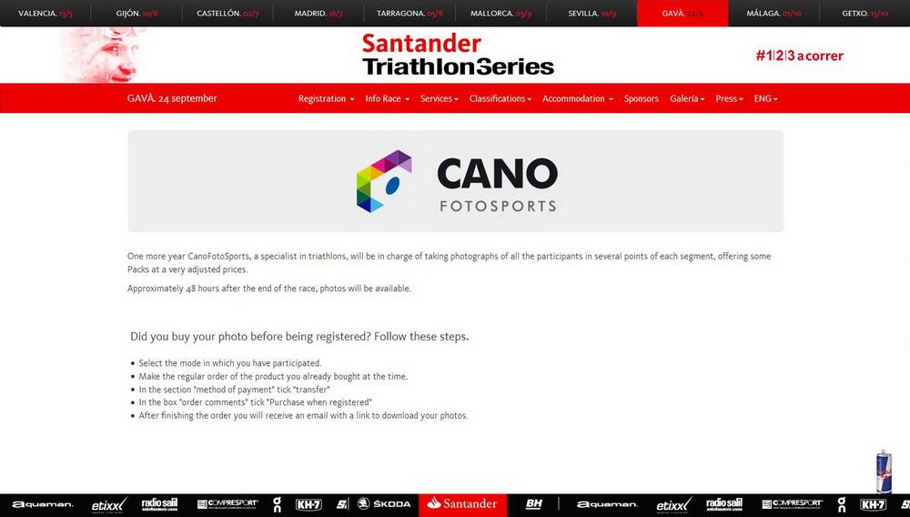 Traducción del sitio web Santander Triathlon Series - Gavà
