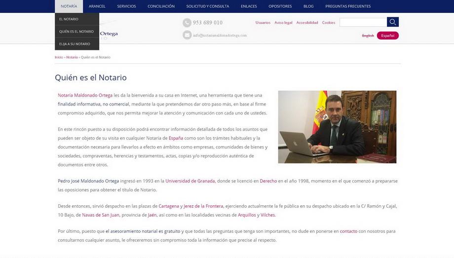 Notaría Maldonado Ortega confía a geYdes la creación de su Web Corporativa