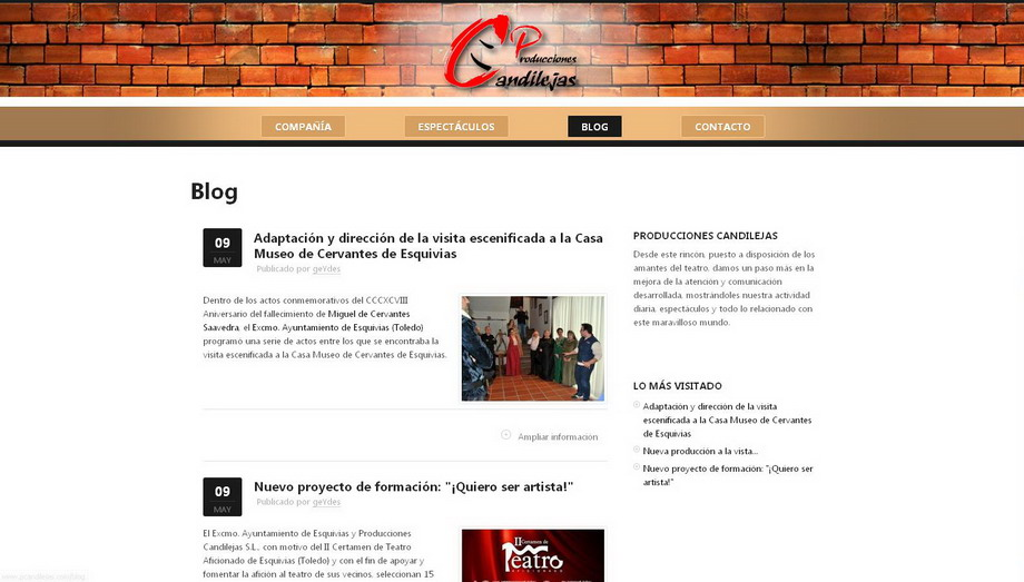 Publicación del nuevo Sitio Web desarrollado para Producciones Candilejas S.L.